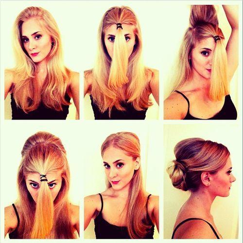 1) Separa a metade da frente do teu cabelo. Prende com um rabo de cavalo. 2) Pega a parte do cabelo solto que fica no alto da cabeça e começa a pentear para trás para criar volume. Aproveita a seçã…
