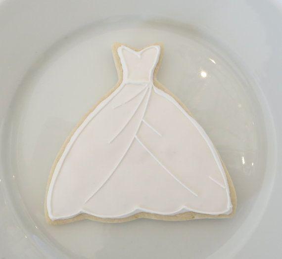 Elegant Wedding Dress Cookies 1 Dozen by SayitwithHeart on Etsy, $36.00