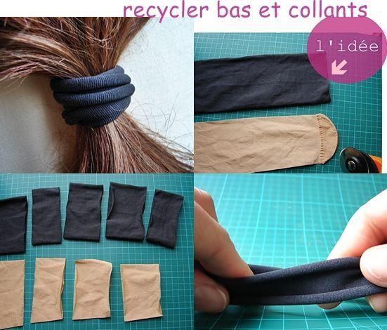 recycler ses collants et mi-bas en élastiques doux pour cheveux