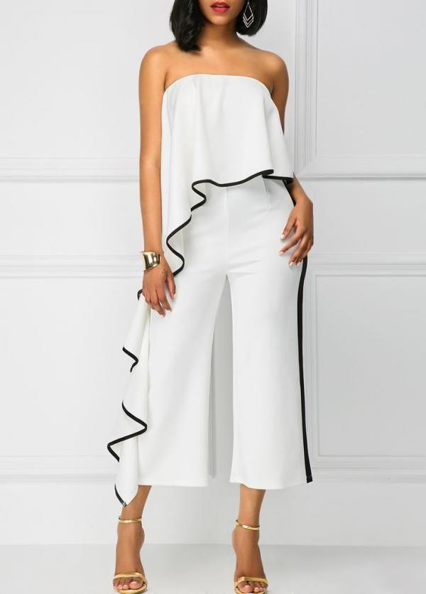 Superbe Combinaisons Polyester Spandex blanc