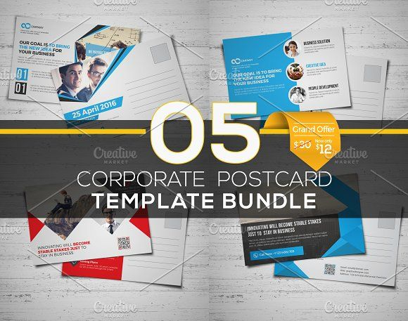 5 in 1 Postcard Template Bundle by Cristal Pioneer on @creativemarket
