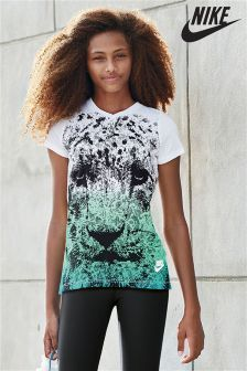 Groen/blauw Nike T-shirt met luipaardprint