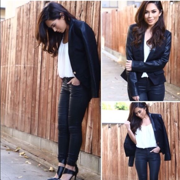 Leather & Knit Blazer This beautiful item is a re-posh, unfortunately it was a little tight in the shoulder for me! Fitted vegan leather sleeves with single gold button closure. No trades please. Celebrity Boutique Jackets & Coats