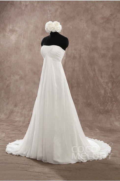 Perfect Sheath-Column Strapless Empire Train Chiffon Ivory Sleeveless Lace Up-Corset Wedding Dress with Pleating PR1436 - 2015 Wedding Dresses - Wedding Dresses #weddingdress #cocomelody
