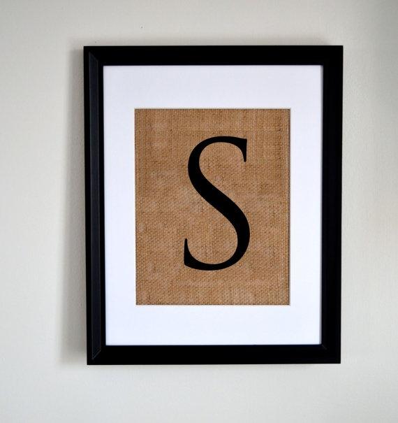 Letter S monogram alphabet burlap wall decor by fiberandwater, $24.95