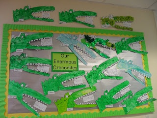 This class of Year 1 students designed Enormous Crocodile projects and wrote adjectives that describe the crocodile.