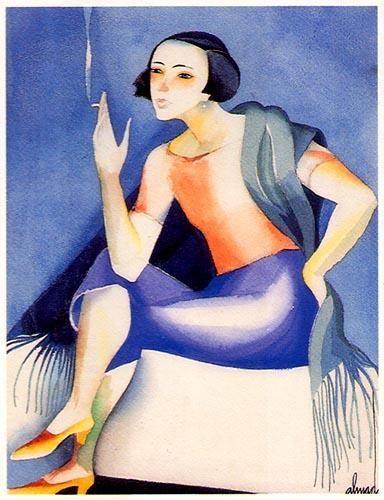 A mulher sentada ,Sintra 1920. Aguarela sobre papel. 350x230 mmm José de Almada Negreiros (1873 - 1970 )