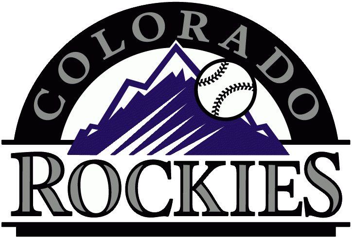 Colorado Rockies Primary Logo (1993) - Baseball going past purple rockies, black arch, and team script