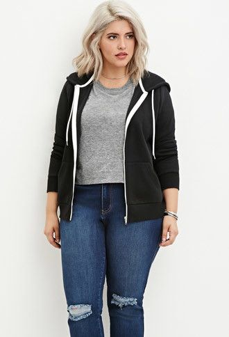 Plus Size Zip-Up Hoodie | Forever 21 PLUS - 2000145647