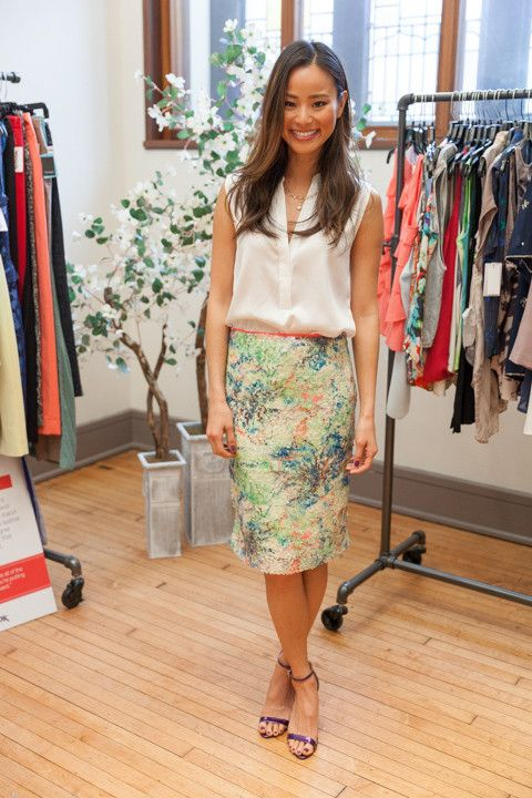 Jamie Chung | floral pencil skirt + button down blouse = perfect spring look