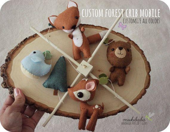 CUSTOM COLOR MOBILE- baby mobile - baby crib mobile - forest creatures - woodland - fox - deer - bear - bird - forest - felt