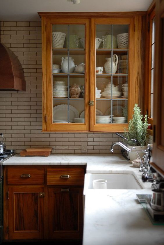 stained wood white countertops and white counters. Would also be nice with a soft/ off white quartz counter