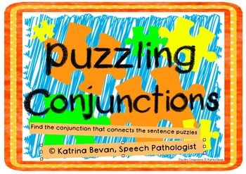 "Use the visual of a puzzle to learn how conjunctions ""join"" sentences together.  Students are presented with sentence parts on puzzle pieces and different coloured puzzle pieces to link sentences in the middle with a conjunction.The activity includes coordinating conjunctions (and, so, or), conjunctive adverbs (however,otherwise) and subordinate conjunctions (because, when, if).Great for small groups, literacy/language groups and speech therapyPrint and laminate for best results!Have…"