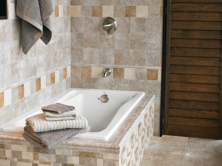 mix and match ceramic tile for patterned bathroom