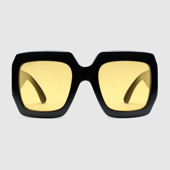 ~ Lunettes de soleil carrées oversize ~ #yellow #glasses #sunglasses #square #oversize