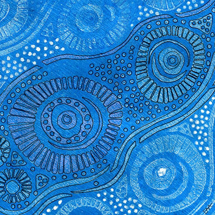 Liz Arnold Reef One Liz is concerned about the bleaching of coral reefs caused by global warming. She is inspired by the ocean and particularly coral reefs Artist-made foam printing plate watercolour paper blue monoprint with black Sakura Pigma Micron pen 18x18cm unframed $95