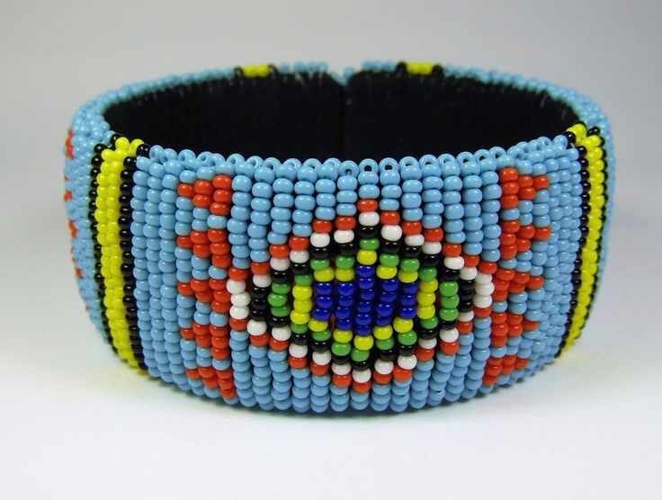 Blue Zulu Wide Beaded Bangle