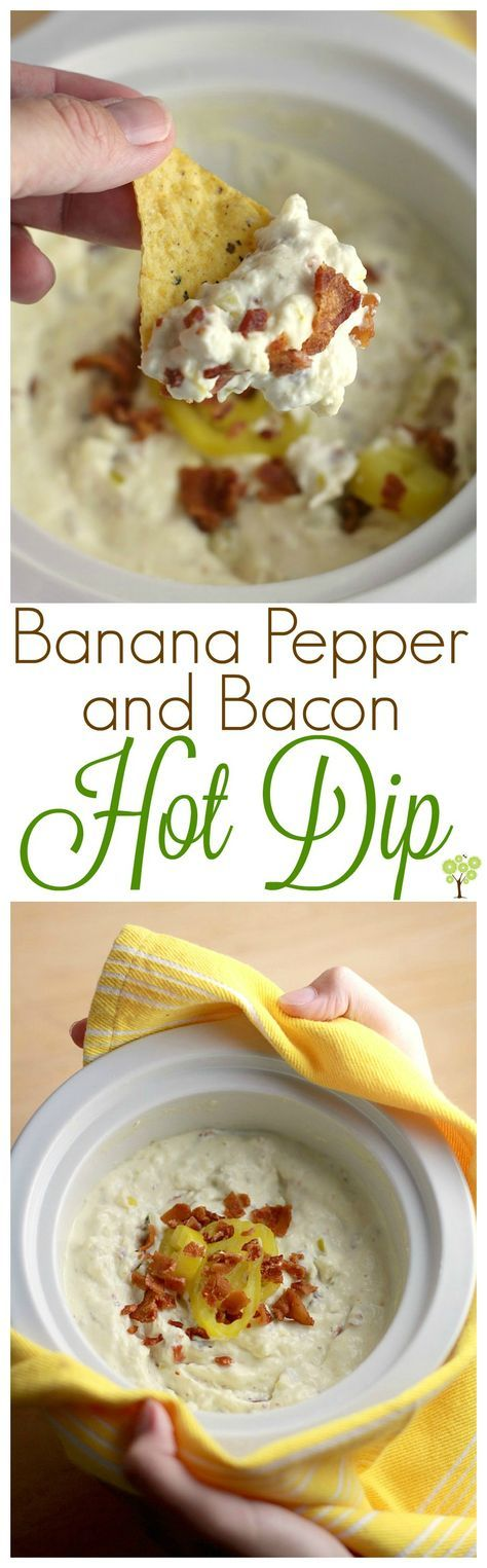 Delicious new Banana Pepper and Bacon Hot Dip! This easy throw-it-together in the crockpot dip is perfect for the holidays.