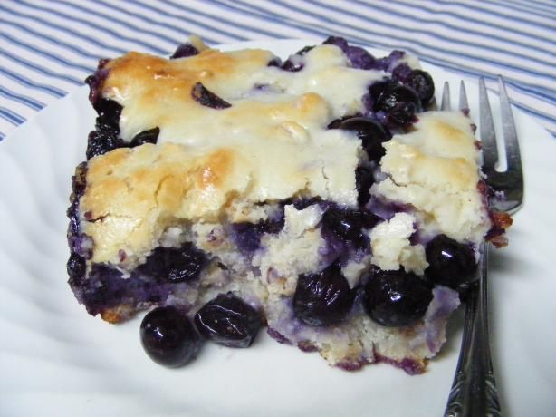 Blueberry Dumpling Cobbler from Food.com: WONDERFULLY DELICIOUS!!! The cream cheese in the dumplings just sends the flavor over the moon!!! Everyone will want second helpings of this family favorite! My husband likes to have it warm with half 'n half poured over the top. If you would like to half the recipe, use a 9x9 baking dish.