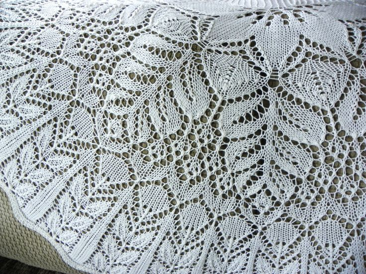 Hand Knit White Floral Shawl accented with Beads by suelillycreations on Etsy