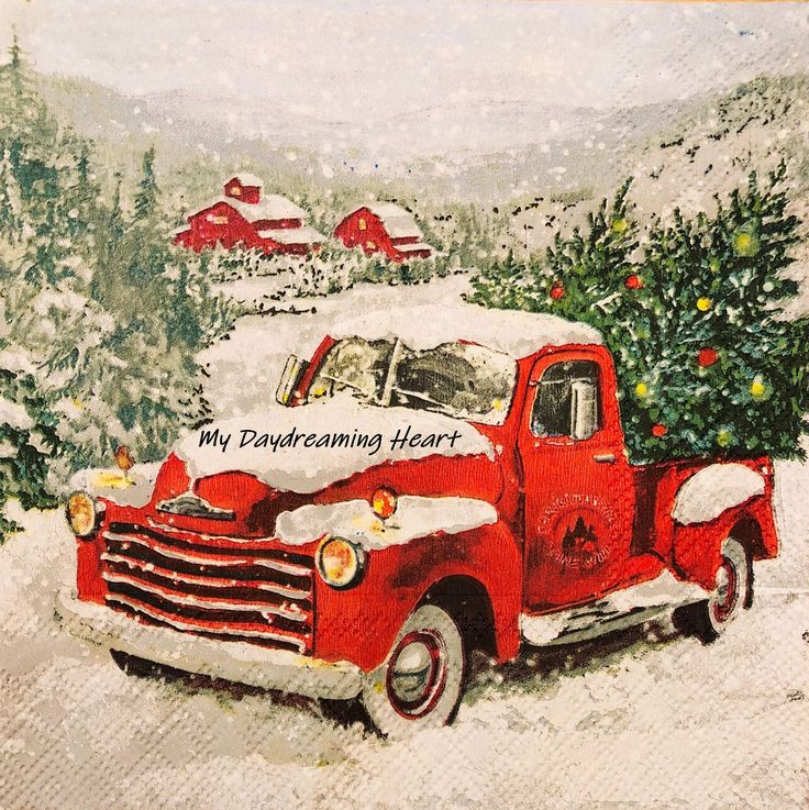 Christmas Red Truck Decoupage Napkins Pickup & Decorated