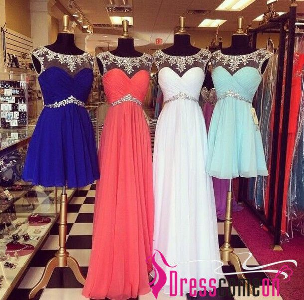 http://dresscomeon.storenvy.com/collections/685592-prom-dresses/products/7234625-two-styles-custom-made-a-line-scoop-zipper-back-beading-prom-dress-long-prom Cute prom / homecoming dresses