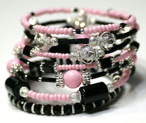 Beaded Memory Wire Bracelet Wrap Bracelet  by RavensNestScarfJewel, $17.00