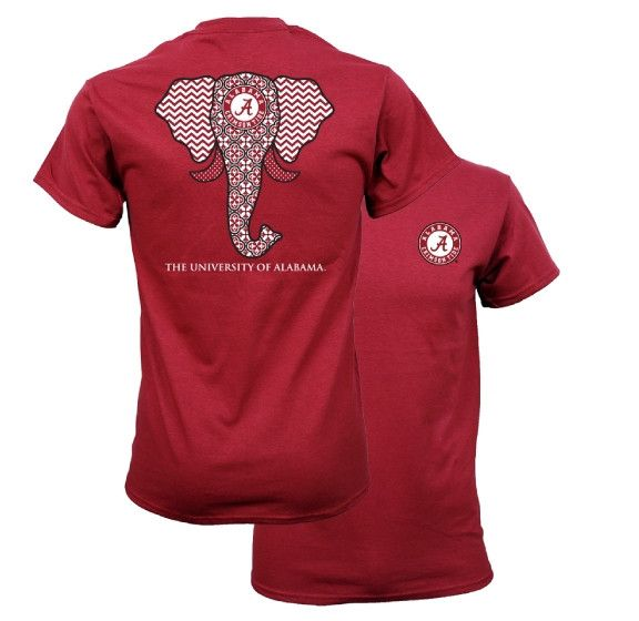Southern Couture Alabama Crimson Tide Bama Tribal Chevron Elephant T Shirt Available in sizes- S,M,L,XL,2X