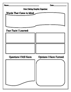 Note Taking (Thoughts, Facts, Questions, Opinions) - Jessica Villamor - TeachersPayTeachers.com