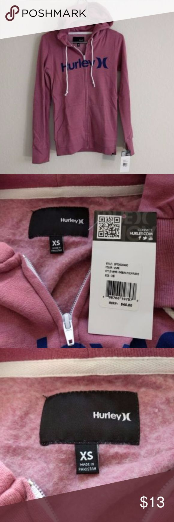 """NWT XS Hurley Pink """"One & Only"""" Zip Up Hoodie Selling an Extra Small Hurley Women's Pink """"One & Only"""" Slim Zip-Up Fleece. Fleece is new with tags, and has never been worn or used. Any other questions please ask. Hurley Sweaters"""