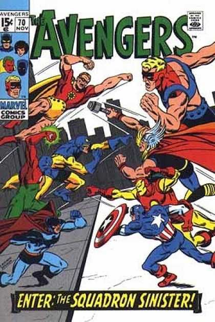 Avengers 70 - Flying - Green Glow - Shield - Skyline - Squadron Sinister - Sal Buscema