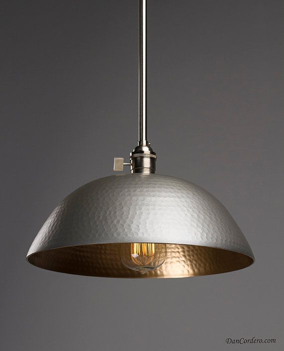 One of these over Kitchen Sink.  Available in Oil Rubbed Bronze or Brushed Nickel.    Hammered Gold & Oil Rubbed Bronze Edison Pendant by DanCordero