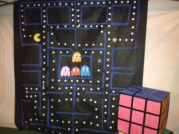 Photo Booth Pacman 80's Theme Backdrop, 80's Party, Party Decor, Birthday Party Decor, Photo Prop, Kids Photo Prop, Video Game