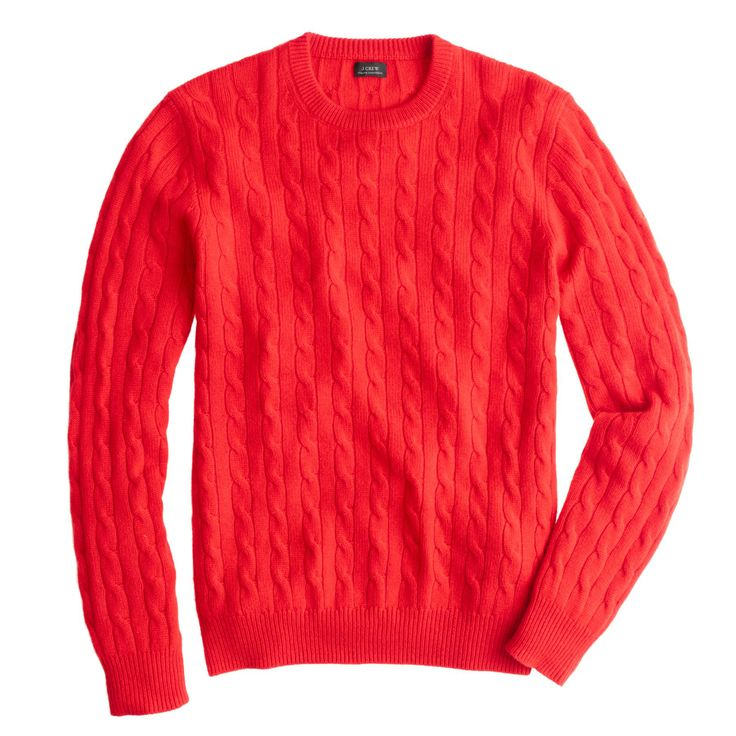 J.Crew men's Italian cashmere cable sweater in signal red.