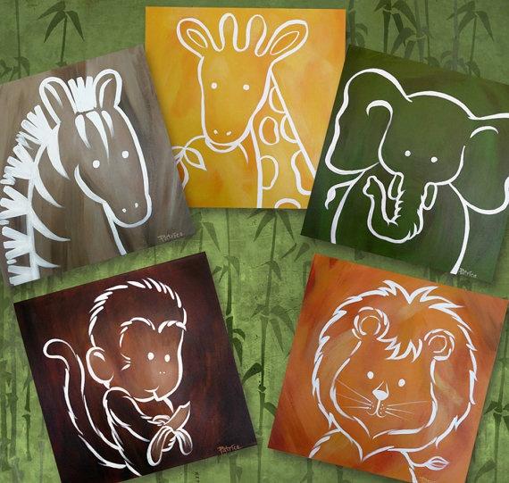 Zoo Animals - LARGER SIZE - Elephant Lion Zebra Giraffe Monkey Jungle Safari Digital Art Prints Wall Art Kids Nursery. $18.00, via Etsy.