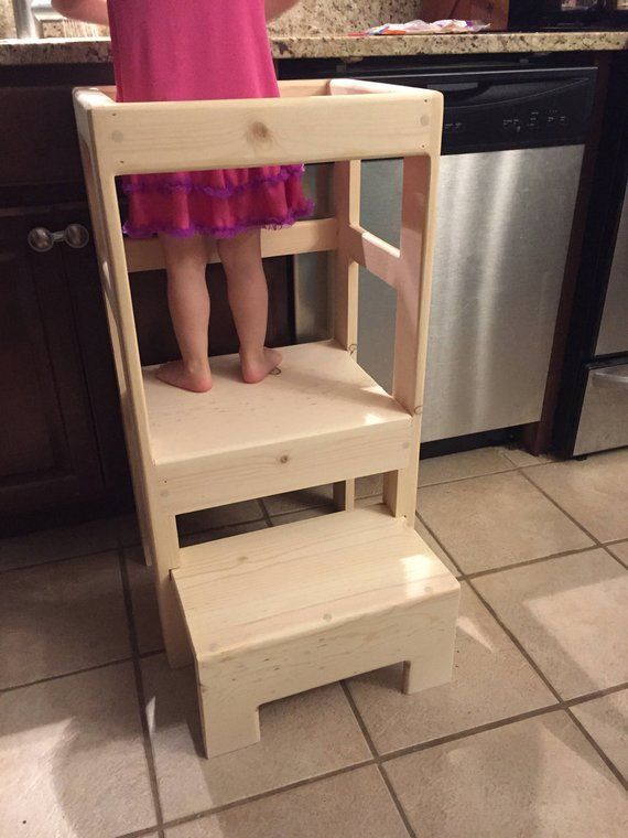 natural pine children s kitchen play safety helper step stool rh pinterest com