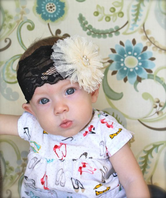 Headband Cream Pouf Organza black lace for by mariajosemonsegur, $14.00