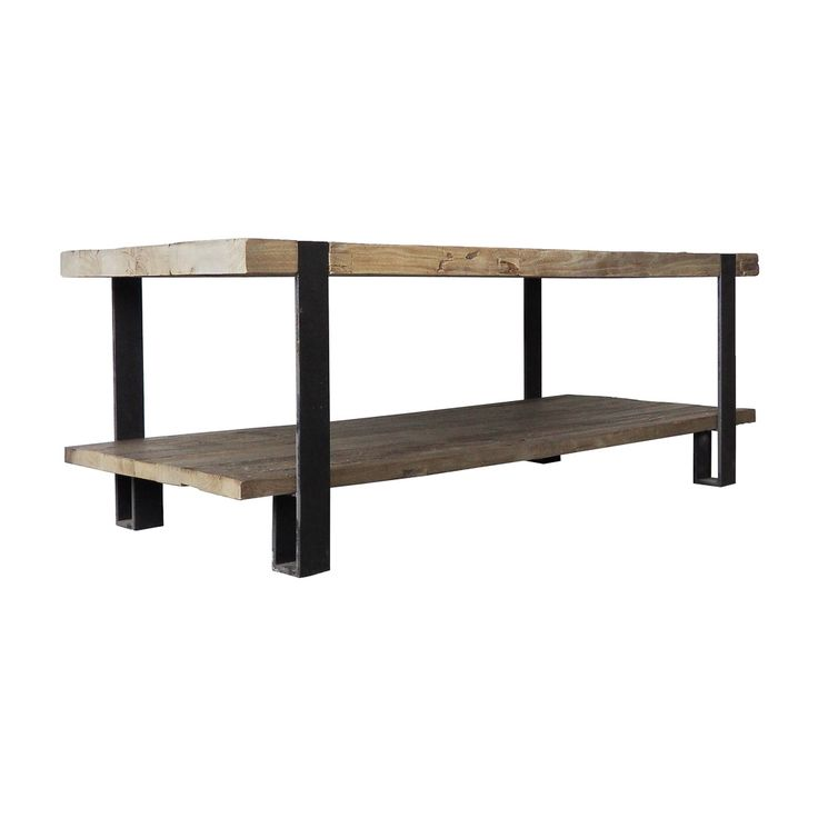 Repurposed Elm 2 Tier Coffee Table Industrial Chic Pinterest Metal Coffee
