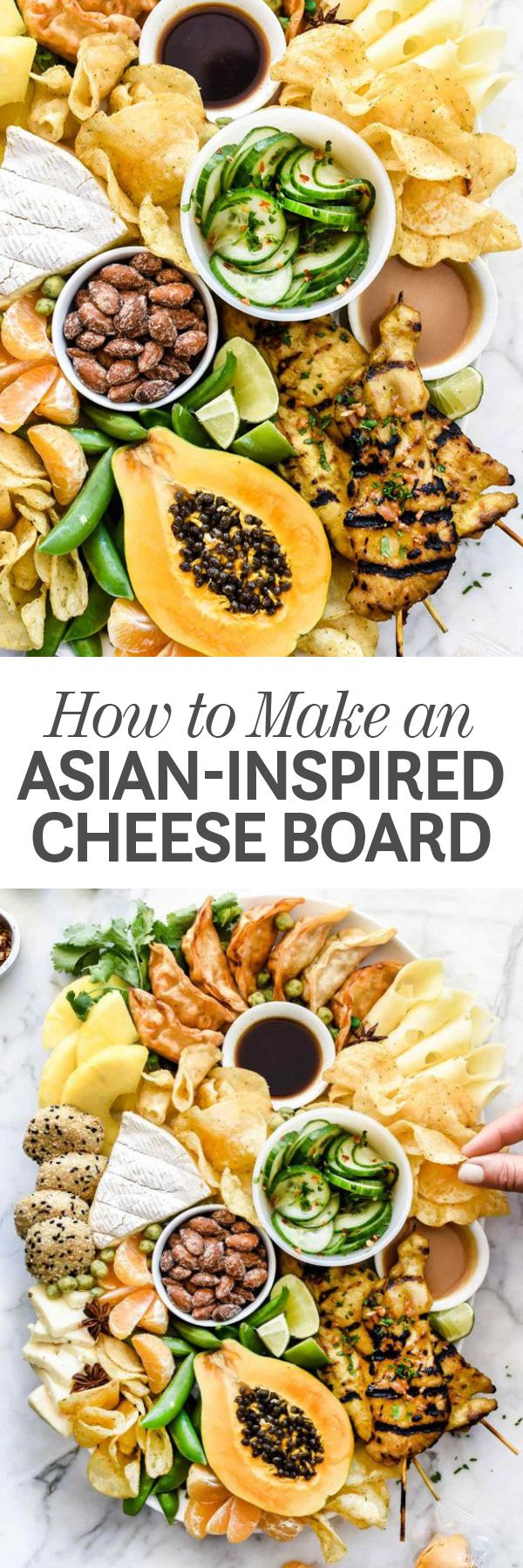 Whether you call it a cheese board or a cheese plate, all that matters for this twist on the loaded appetizer platter is that it's piled high with a variety of Asian-inspired bites. | foodiecrush.com #cheeseboard #cheese #potatochips #Asian #recipes