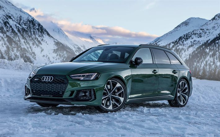 Download Wallpapers Audi Rs4 2018 Auditography Green Rs4 Sports
