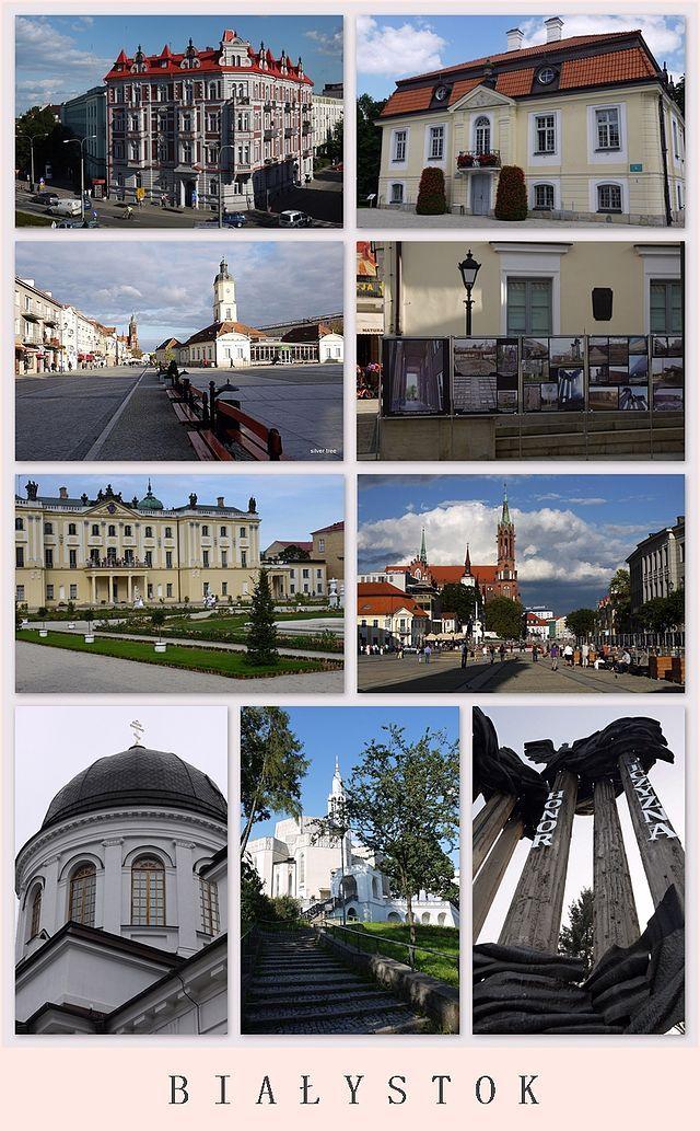 Dom Koniuszego, Ratusz, pałac Branickich, rynek Kościuszki, sobór św. Mikołaja, kościół św. Rocha, pomnik Bohaterów Ziemi Białostockiej