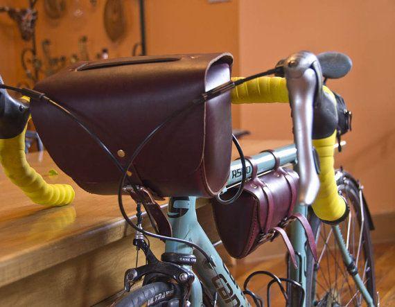 Leather Bicycle Tool Bag Crossbar Bag Bike Seat Bag by HANDandHIDE