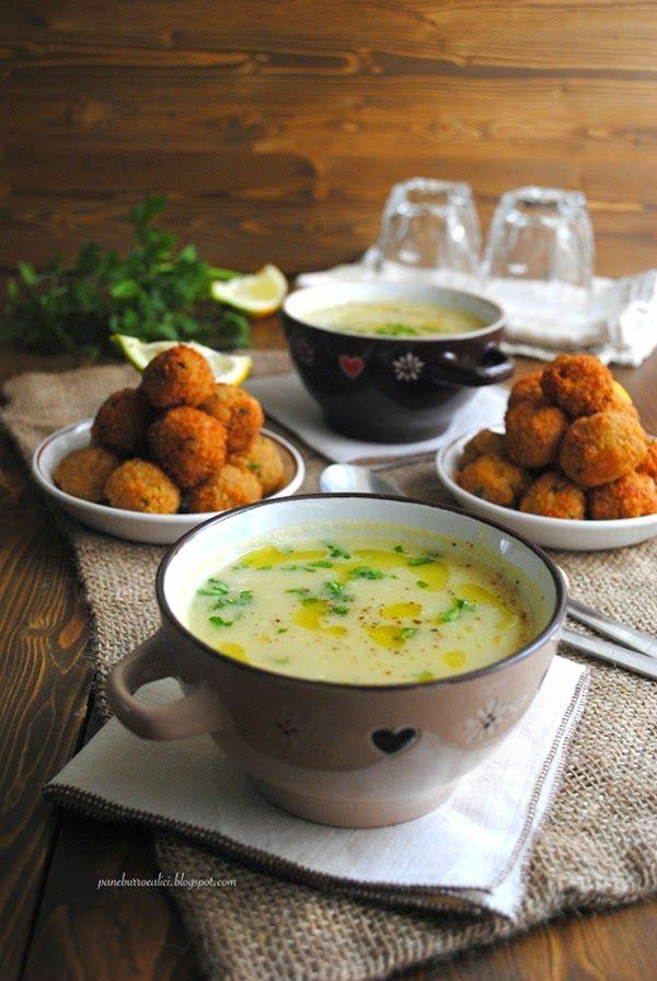 Pane, burro e alici: Vellutata di topinambur con polpette di couscous alle acciughe