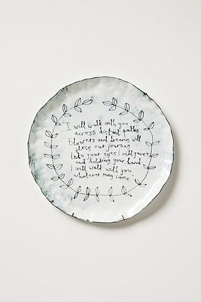 Snowdown canape plate inspiration for Calligrapher canape plate anthropologie