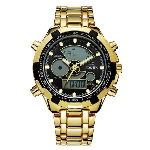 Amuda Mens Sport Watch LED Gold Big Face Quartz-Watch Men Waterproof Wrist Watch Male Watches