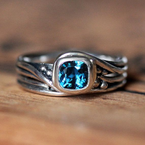 Rustic engagement ring set  in london blue topaz and recycled sterling silver by metalicious $340
