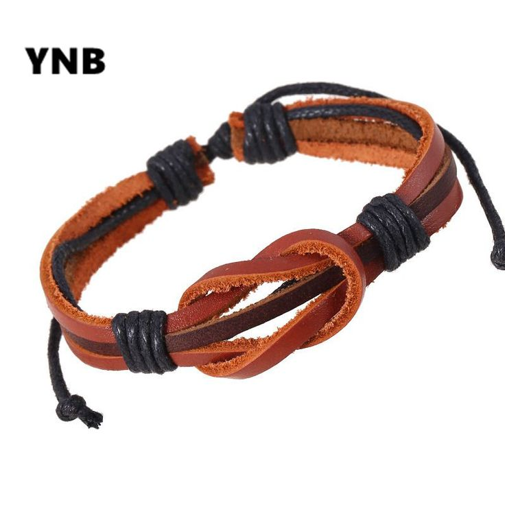 YNB Simple Style brown leather bracelets for men and women, high quality mens leather bracelet male Vintage bracelet  gifts