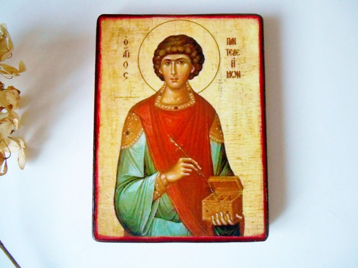 Religious Icon Saint Pantaleon Russian Icon Handmade Orthodox Icon Catholic Icon Holy Helpers Byzantine Icon Spiritual Painting Easter Gift by SpiritualGiftGallery on Etsy