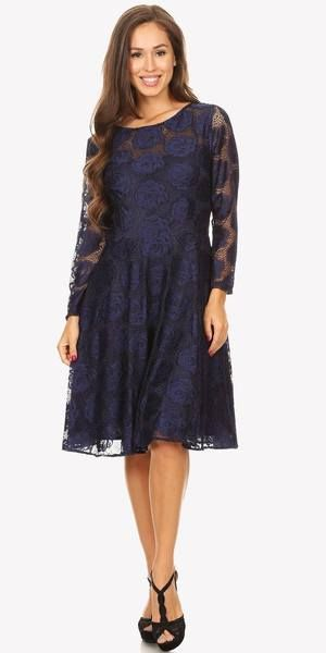 e3630d33063 Celavie 6327 Scoop Neckline Long Sleeve A-Line Wedding Guest Short Dress  Navy Blue –