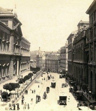 Napoli - Via foria e il museo archeologico nazionale, 1880-1885. collezione gaetano fiorentino
